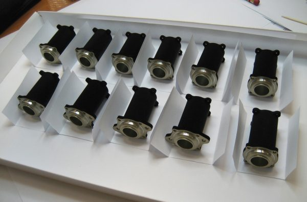vaccum black coated components in 2 rows